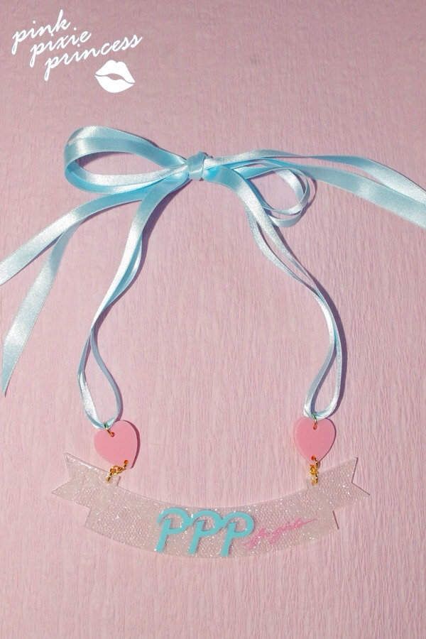 ●PPP● Ribbon Ribbon Necklace / white lace clear × milky blue | PPP for girls
