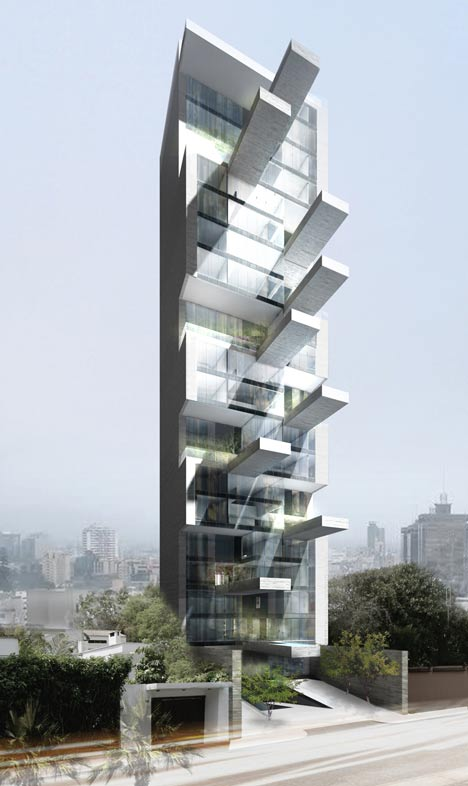 Sky Condos tower with cantilevered pools by DCPP