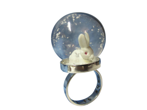 Snow globe ring sterling silver with white by...