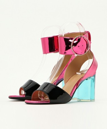 WIDE ANKLE STRAP CLEAR HEEL SANDALS pink