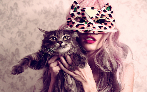 cat, girl, glamour, mask, sexy - inspiring picture on Favim.com