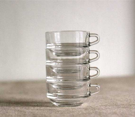 4 French Duralex stackable coffee cups in clear by voladoravintage
