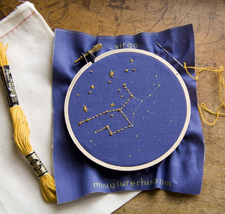 Pisces Zodiac Embroidery Kit diy constellation by MiniatureRhino