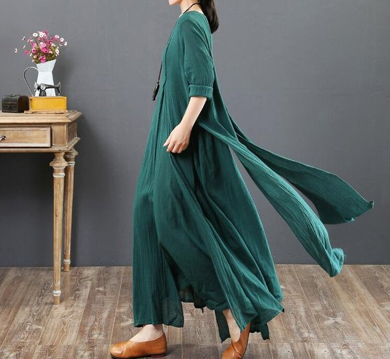 Green maxi dress Plus size dress women dress floor length | Etsy