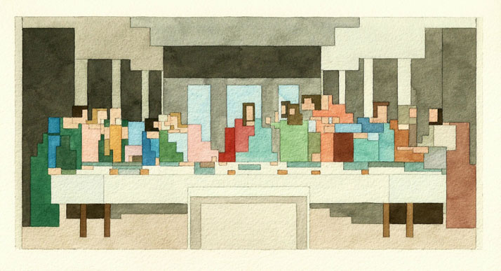 The Amazing Pixelated Watercolour Paintings of Adam Lister   Yatzer