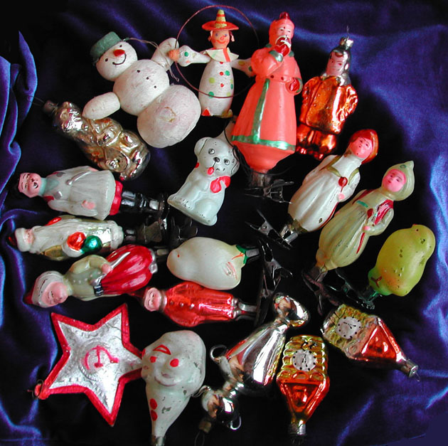 OLD RARE GERMAN DRESDEN AND RUSSIAN CHRISTMAS ORNAMENTS