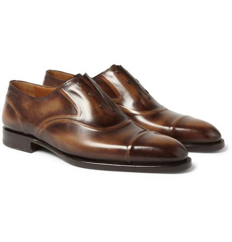 Berluti - Victor Polished-Leather Slip-On Oxford Shoes