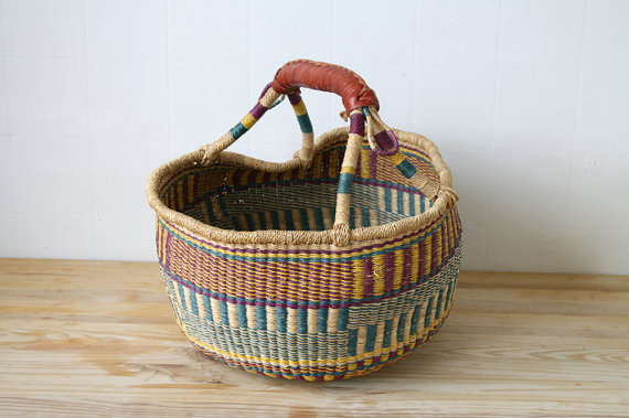 Large Woven Basket by boxofhollyhocks on Etsy