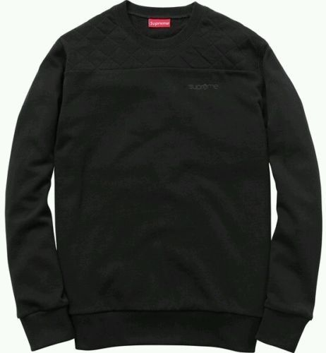 SUPREME S/S 2014 QUILTED PANEL SWEATER CREWNECK BLACK SMALL S le bain cdg pcl | eBay