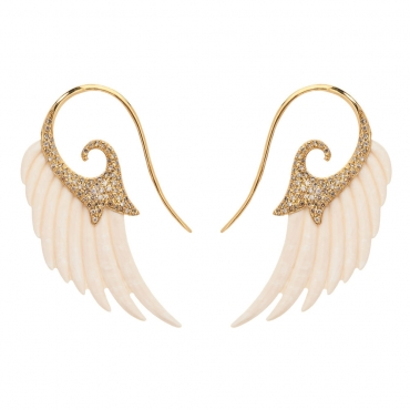 Mammoth Ivory Wing Earrings by Noor Fares on GIFTLAB in Just In - Luxury Jewelry