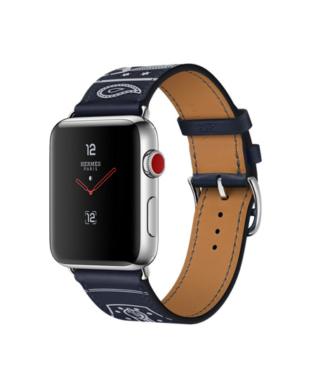 AppleWatch Hermès GPS+Cellular, 42mm Stainless Steel Case with Marine Gala Leather Single Tour Eperon d'Or - Apple