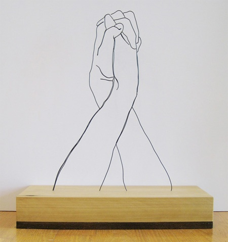 .:and the like pt1:. / Hands Clasped   Gavin Worth ( Steel Wire Sculptures )   http://www.gavinwo...