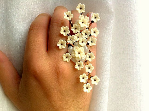 Ivory Flower Ring by gystefania on Etsy