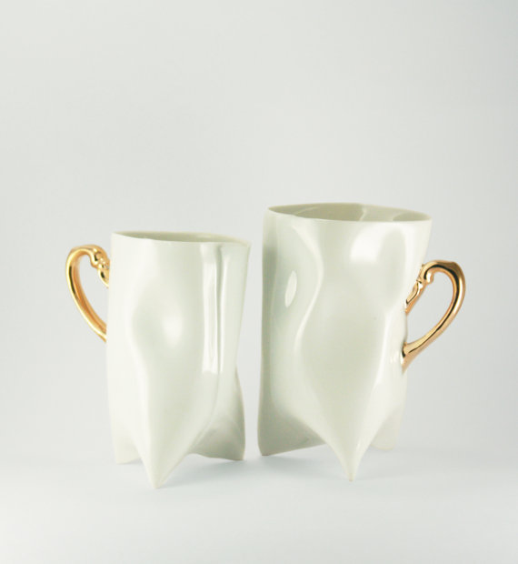 Ceramic white and gold handbuilt cups Porcelain mugs by ENDEsign