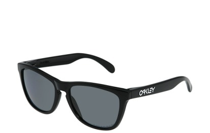 Oakley Frogskins Sunglasses - Polished Black w/ Polarized Grey Lens @ ZephyrSports.com