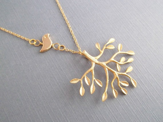Tree And Bird Necklace Gold by LadyKJewelry on Etsy