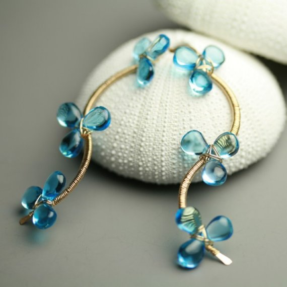 December Birthstone Flower Vine Earrings Swiss Blue by fussjewelry