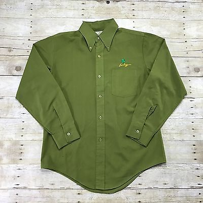 Vintage 1980s Lucky 4 Leaf Clover Embroidered Green Button Down Shirt Men Medium