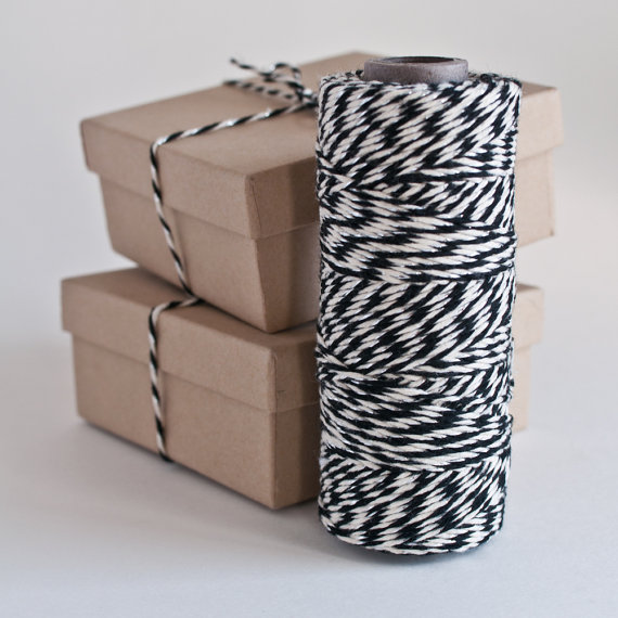 Black/Natural/Silver Metallic Baker's Twine by knotandbow on Etsy