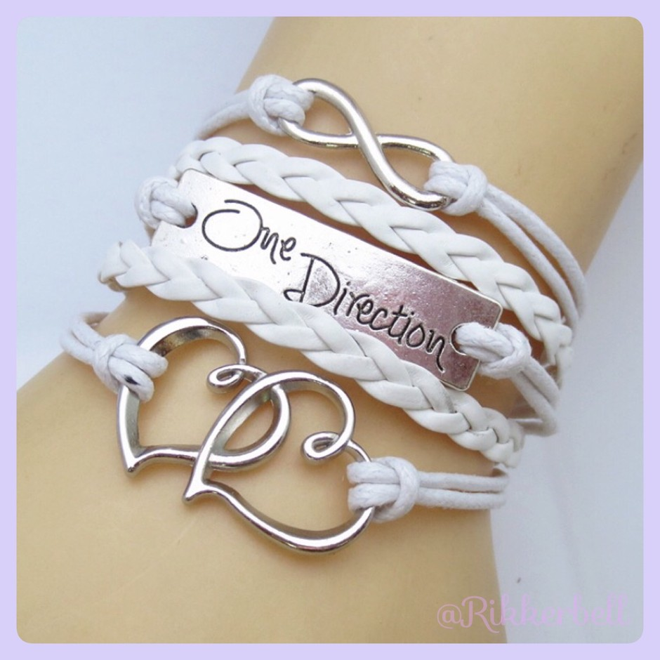 Charm Fashion Leather Bracelet Heart One Direction - plamode