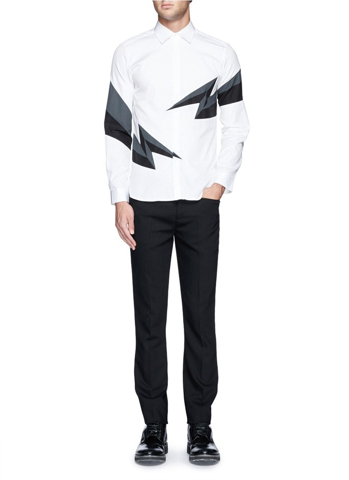 NEIL BARRETT - Lightning bolt print shirt | White Casual Shirts Shirts | Menswear | Lane Crawford