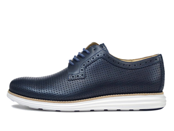 COLE HAAN LUNARGRAND PERFOTATED PLAIN TOE OXFORD NAVY/WHITE