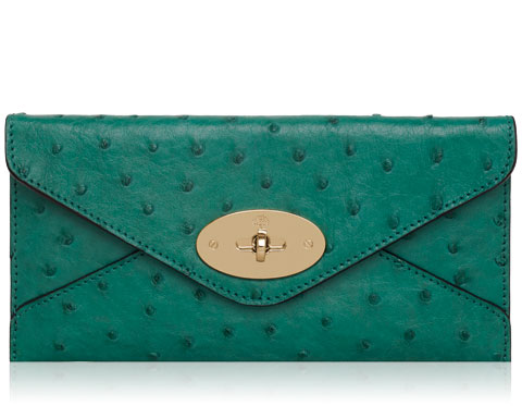 Mulberry - Envelope Wallet in Emerald Ostrich