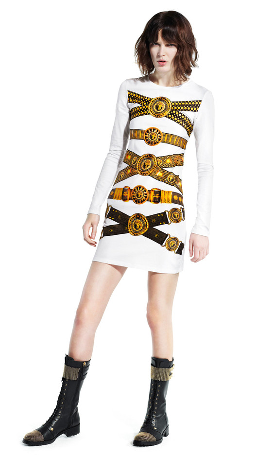 Belted Mini Dress & Military Boots   Versus Versace