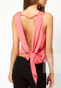 lulula-fashion shopping mall — [gryxh3600428]Sexy backless bowknot chiffon vest