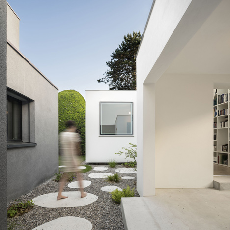 House extension with stepping stones leading inside