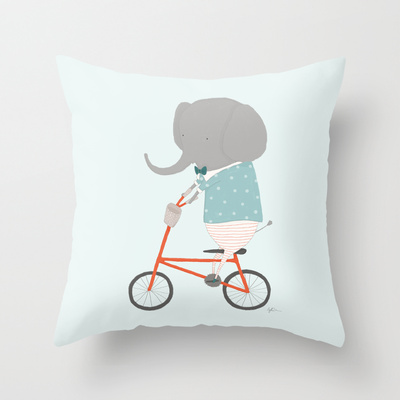William Rides His Bicycle Throw Pillow by Creature Comforts | Society6