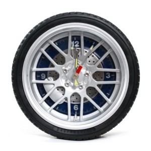 Personalized Automobile Tire Wall Clock - Blue Dial Plate - 10 Inch