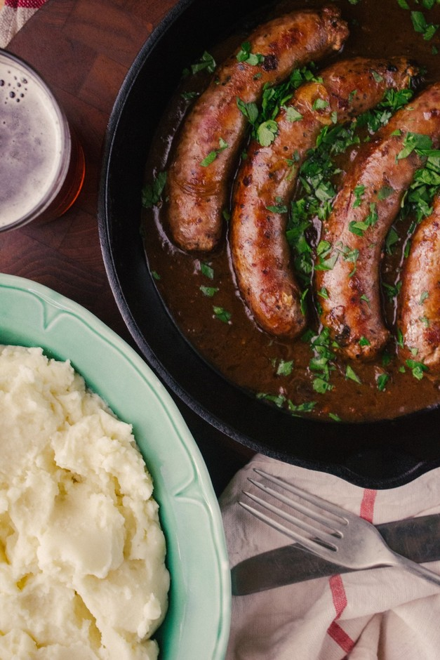 Bangers and Mash with Beer and Onion Gravy | Simple ...