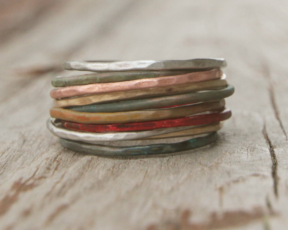 Stacking Skinny Rustic Rings Silver Gold Copper Patina by amywaltz