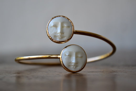 MAN In The MOON Bangle /// Electroformed Carved Bone by luxdivine