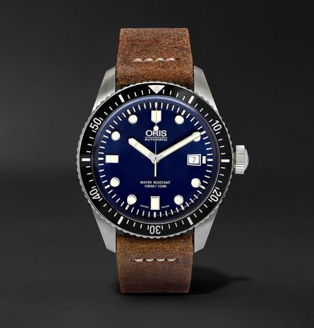 Oris - Divers Heritage 65 Stainless Steel and Suede Automatic Watch