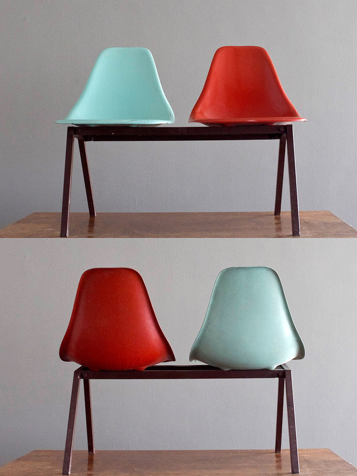 1950's Laundromat Shell Chairs in Turquoise & Red... | Surplus