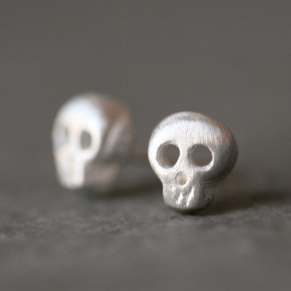 Baby Skull Earrings in Sterling Silver by MichelleChangJewelry
