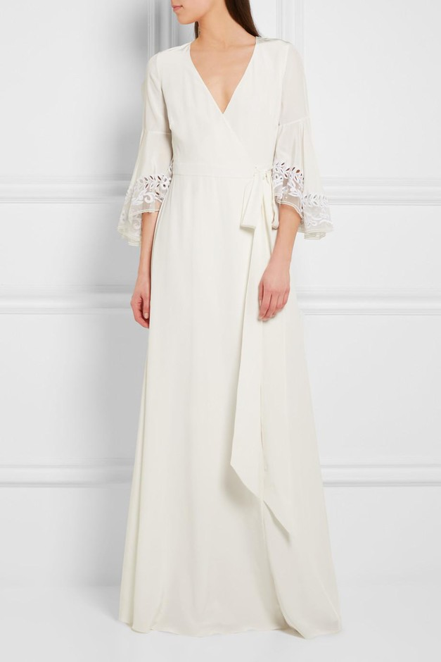 Temperley London | Rosemary embroidered tulle-trimmed silk crepe de chine gown | NET-A-PORTER.COM