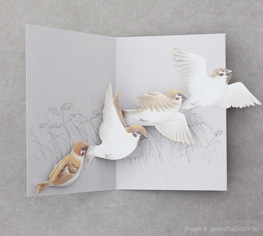 tobidustry tree sparrow pop-up card - shop - upon a fold