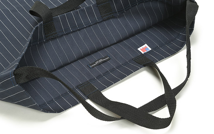 ENGINEERED GARMENTS/Carry All Tote W/Strap-H.B Gangster St.-Dk.Navy