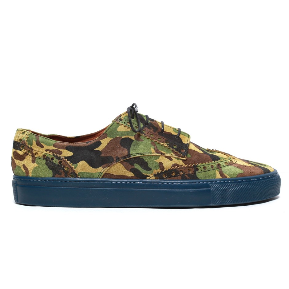 Basso Wingtip Sneaker - Camo Suede - View All Products