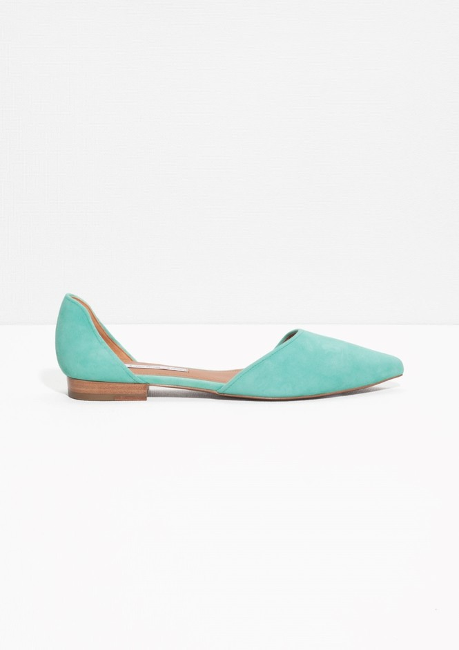 & Other Stories | Pointy Suede Flats | Blue