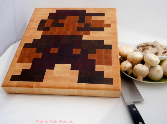 Preorder 8 bit Mario end grain cutting board by PrairieOakStudios