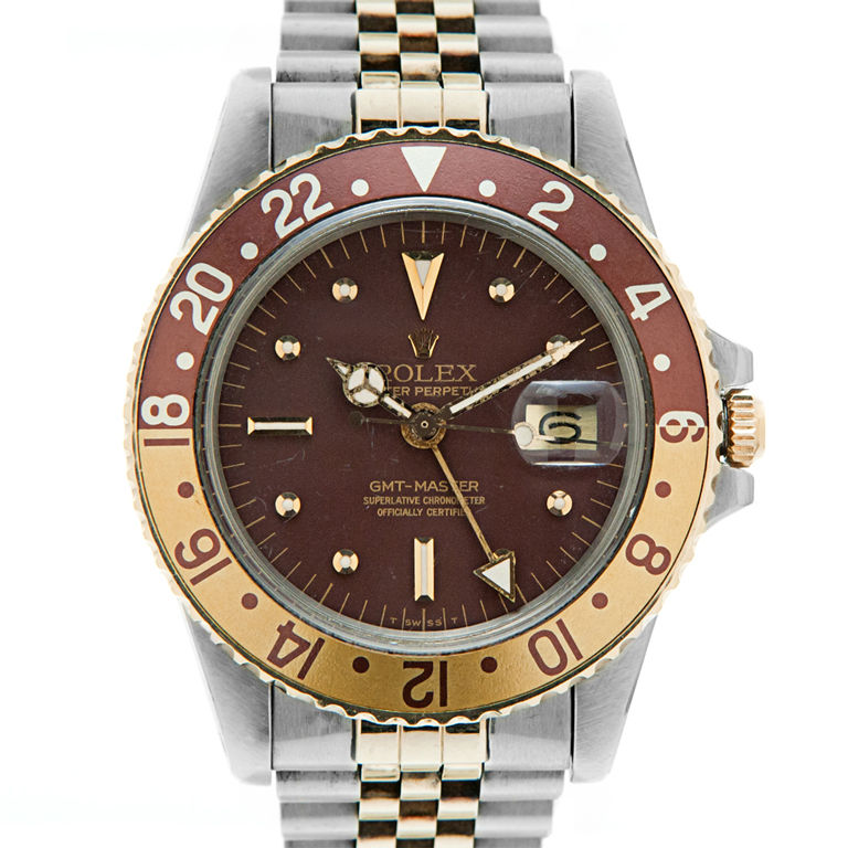 "ROLEX 18K Gold & Stainless Steel Vintage ""Root Beer"" GMT-Master"