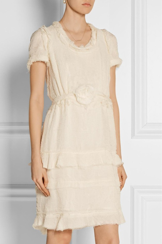 Lanvin | Tiered crinkled silk-chiffon dress | NET-A-PORTER.COM
