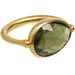Marie Helene de Taillac Gold swivel ring with Green... review | buy, shop with friends, sale | Kaboodle