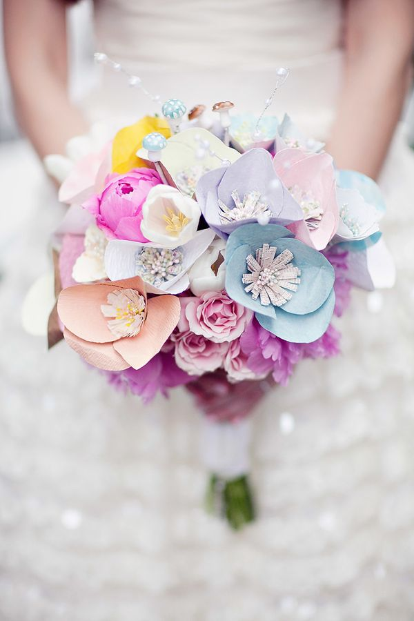 wedding / Paper + Real Flower Bouquet   See the wedding on SMP - http://www.StyleMePretty.com/little-black-book-blog/2014/01/09/whimsical-pastel-coral-gables-country-club-wedding/ Laura Leslie Photography