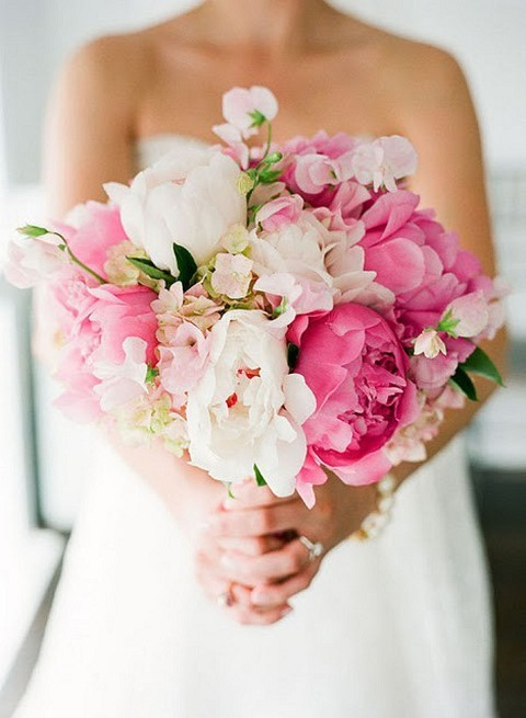 my wedding blog / pink and white bouquet with peonies