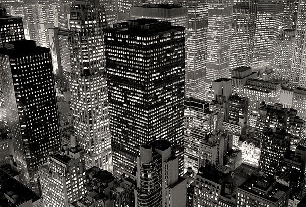 Silent City (by Michael Kenna), city, buildings,lights uploaded by comic book guy